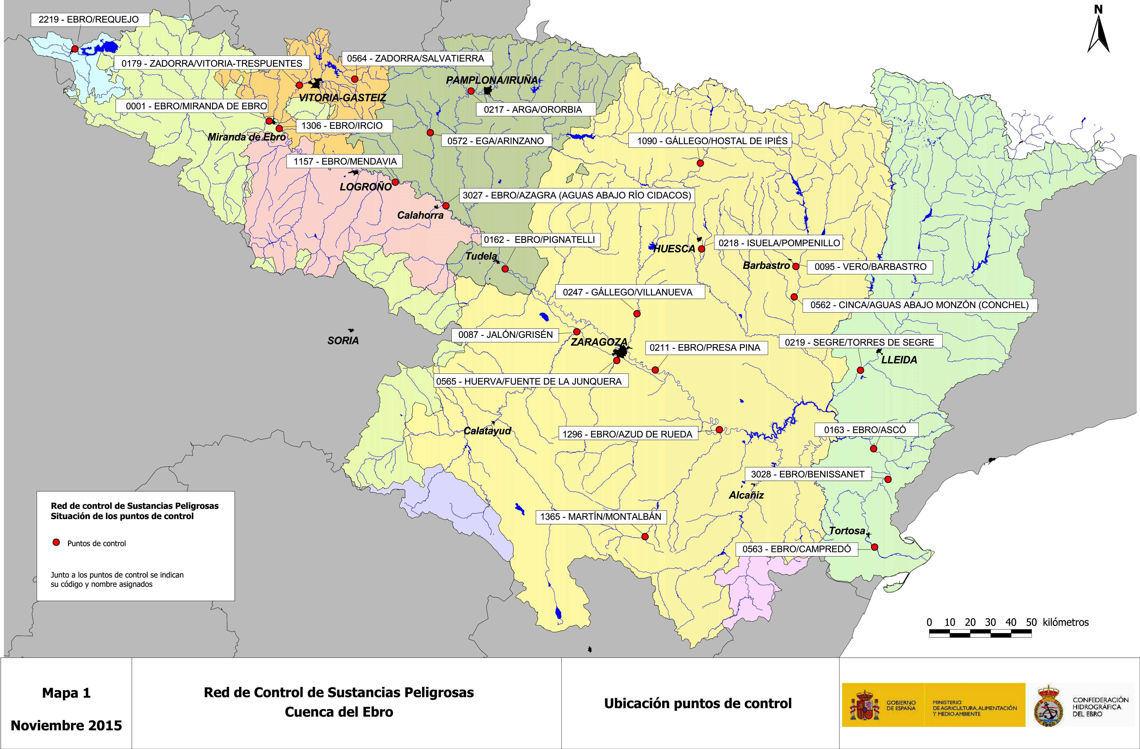 Mapa de la Red de Control de Sustancias Peligrosas