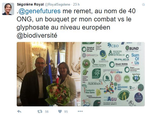 Flores sin pesticidas para Ségolène Royal por votar contra la renovación del glifosato