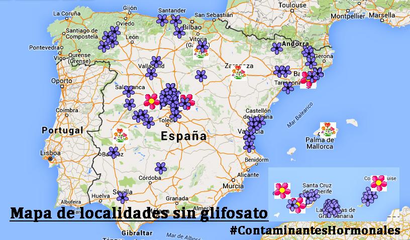 Mapa de localidades que han aprobado mociones contra el glifosato hasta el momento